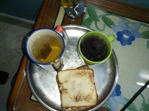 Eggs with coffee and green tea